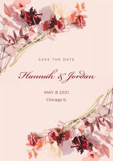 floral arrangement corner save the date wedding a5 Hochzeitseinladung