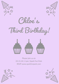 Grey and Pink Birthday Party Invitation 誕生会の招待状
