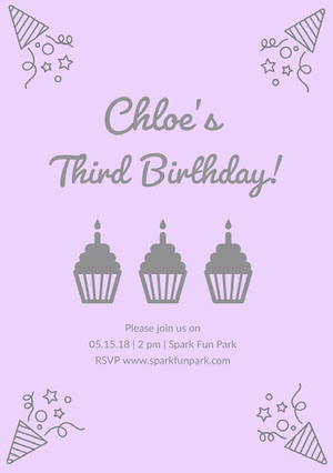 Grey and Pink Birthday Party Invitation Invitations