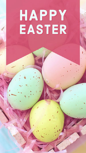 Pink With Colorful Eggs Easter Wishes Social Post Creatore di biglietit pasquali
