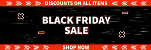 Black Orange and White Black Friday Web Banner Banneri