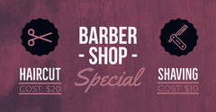 Violet and White Barber Shop Banner Barber