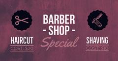 Violet and White Barber Shop Banner Shopping