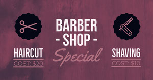Violet and White Barber Shop Banner Reklamebanner