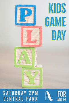 Blue With Colorful Blocks Kids Game Day Poster Game Night Flyer