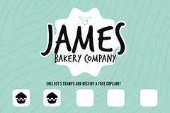 Green Stripped James Bakery Loyalty Stamp Card Bakery