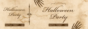 Beige Old Bones Halloween Party Raffle Ticket Billet de tombola