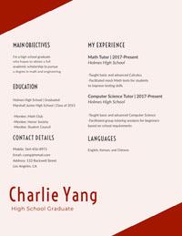 Charlie Yang  Resume for Freshers