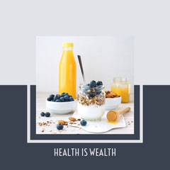 Dark Blue and White Blueberries and Juice Photo Healthy Eating Instagram Square Juice