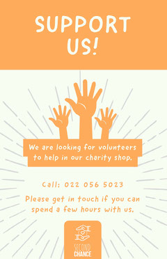 Orange and White Support Volunteer Search Poster Volunteer