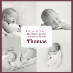 Grey Newborn Baby Collage Instagram Square  Family