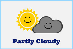 Illustrated Partly Cloudy Weather Flashcard Sun
