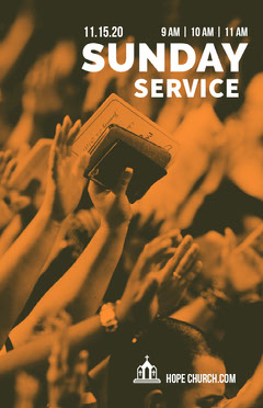 Orange Sunday Service Church Flyer with Hand Holding Bible Sunday