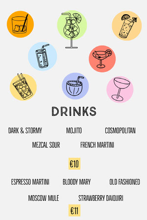 Multicolored Illustrated Cocktail Drinks Menu Drink Menu