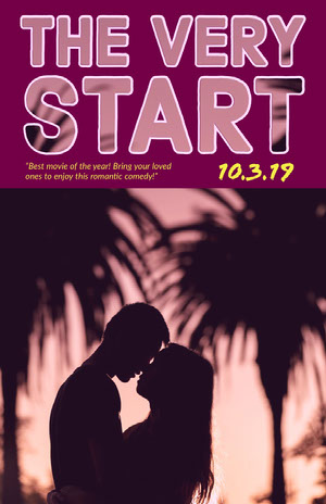Pink Romance Movie Poster with Couple and Palm Trees Filmposter