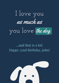 Blue and White Happy Birthday Card Biglietto di compleanno
