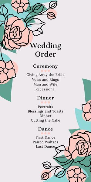 Pink Rose Floral Corner Wedding Program Programme de mariage