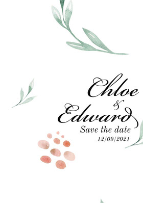 Chloe & Edward Save the Date Card Save the date-kort