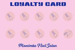 Blue & Pink Nail Salon Loyalty Card Beauty Salon
