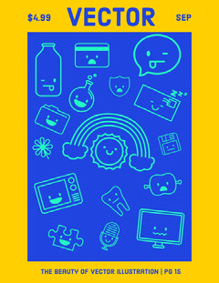 Yellow and Blue Vector Illustration Graphic Design Magazine Cover Designer