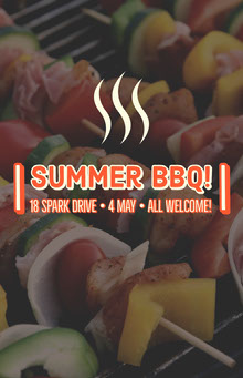 Summer Barbecue Flyer with Shish Kebabs on Grill BBQ Menu