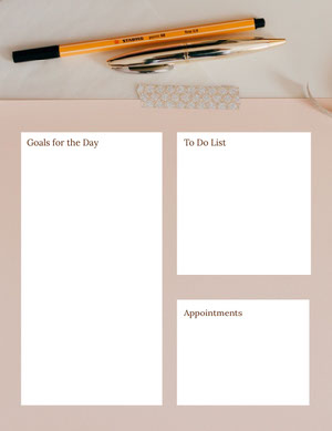 Beige and White Personal Planner Planilha de metas