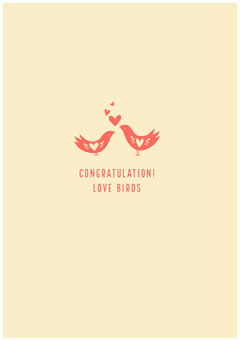 Yellow and Red Engagement Congratulations Card with Birds Couple
