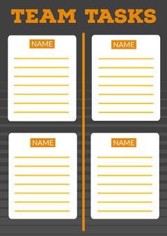 Orange & Black Interactive Team Task A4 Print Worksheet Teams