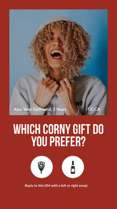 Red Framed Funny Valentine Question Instagram Story Jokes