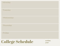 Gray Weekly College Schedule College Schedule