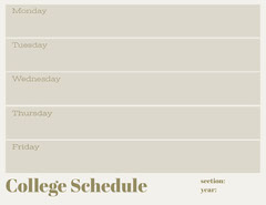 Gray Weekly College Schedule Education