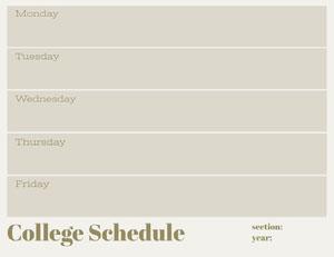Gray Weekly College Schedule College Schedule