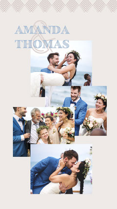 Pastel Navy and Beige and Brown Art Deco Wedding Instagram Story Family