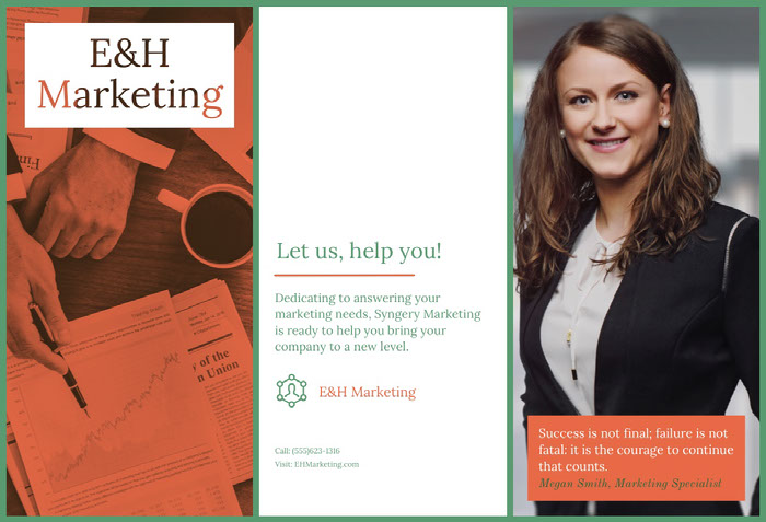 Orange and Green Marketing Agency Brochure with Businesswoman Idées de brochures