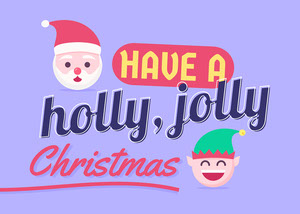 Purple Illustrations Have A Holly Jolly Christams Card Landscape Christmas Facebook Cover