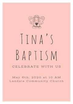 Black and Pink Baptism Invitation Baptism