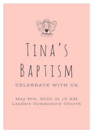 Black and Pink Baptism Invitation Baptism Invitation