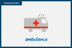 Grey Ambulance Transport Vehicle Flashcard  Kids