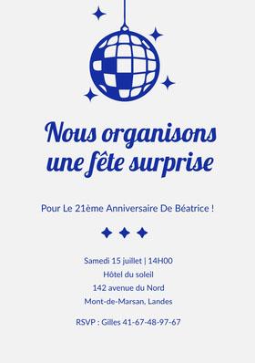 Nous organisons une fête surprise Invitation d'anniversaire