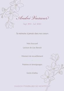 Lilac Floral Funeral Program A5 Programme funérailles