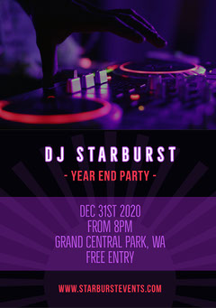 Purple White and Black DJ Starburst Year End Party Flyer A5 Neon