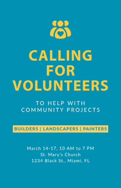 Blue and Yellow Calling for Volunteers Poster Volunteer