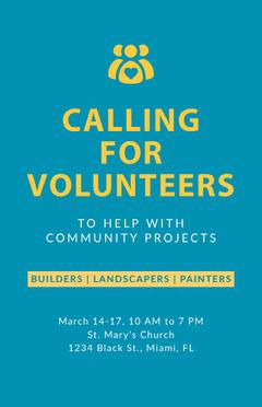 Calling for Volunteers Poster Volunteer