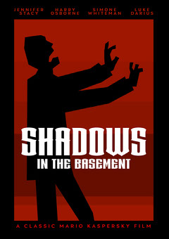 Red Black and White Shadows in the Basement Movie Poster Scary