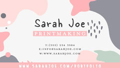 Pink Printmaking Graduate Show Business Card Educational Course