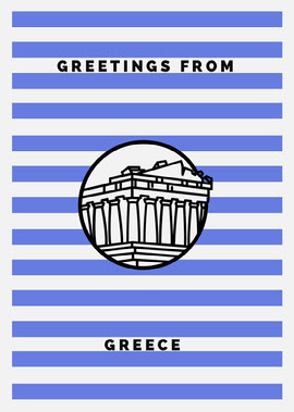 Blue and White Stripes Temple Illustration Greece Postcard Vykort