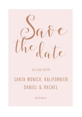 light pink save the date card Terminankündigung