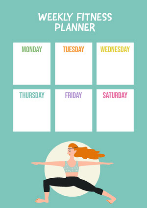 Multicolor Yoga Pose Weekly Fitness Planner A5  Workout Calendar