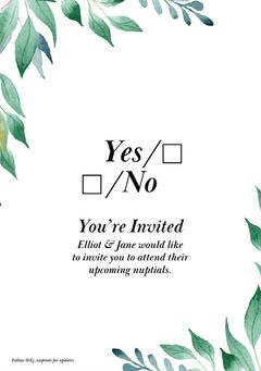 Leafy Elliot Wedding Invite A5 Leaf