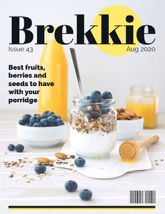 Breakfast Magazine Cover with Blueberries and Granola Breakfast